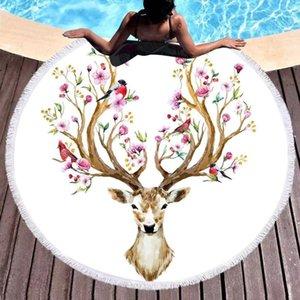 Ropa de cama de Elk ciervos floral redonda Alfombras Flores Coordinador de Área Rug animales Aves Sala Pavimento estera de habitación de los niños juega las esteras 150cm