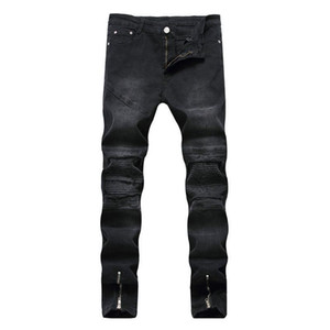 Crazy2019 팝 Lguc.H 가을 블랙 라이트 블루 청바지 남자 오토바이 무릎 접어 골판지 사이드 지퍼 스트레칭 남자 카우보이 연필 바지