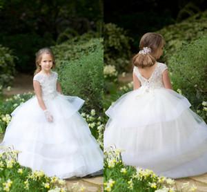 Neue Art und Weise 2020 Ballkleid Kinder Partei-Abnutzungs-weiße Spitze-Juwel-Ansatz-Kappen-Hülsen-abgestuftes Rock-Mädchen-Halloween-Kleider Weihnachten Kleider