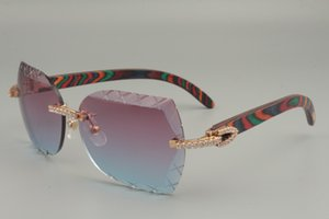 2019 new natural color wooden sunglasses, 83003-53-B, personalized fashion diamond engraving lens X model sunglasses, size: 58-18-135mm