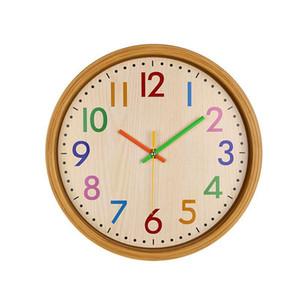 12 pouces numéro coloré silencieux enfants Horloge murale décorative Grande non coutil Horloge murale style vintage à pile Salon Home Decor