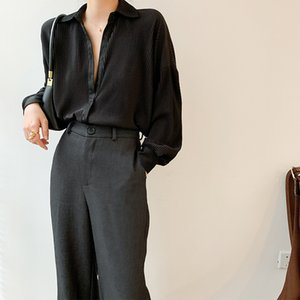 Las mujeres blusa de seda de manga larga señora de la oficina 2020 de la vendimia del resorte satén plisado blusas parte superior y la camisa