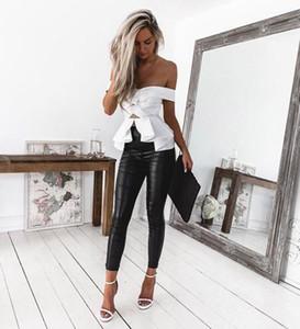 Pantaloni a vita alta skinny elasticizzati da donna Pantaloni da donna slim fit Pantaloni da donna in pelle sintetica / Leopard / Pelle di pitone