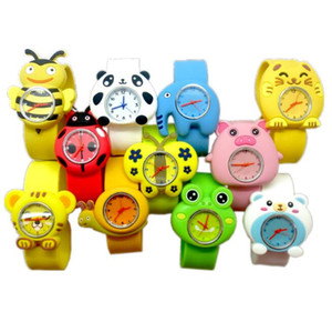 Fashion Animal Cartoon Slap relojes Flower Pig Snail Ribbit Frog Kid Reloj de pulsera Banda de silicona Cute Cartoon Snap Slap Silicona reloj de estudiante.