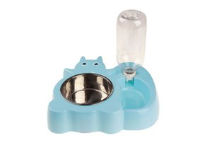 10PCS Squirrel Shape Pet Water and Food Feeder Pet Dog Stainless Steel Bowl Set Cat Bowl Mat 6 Colors