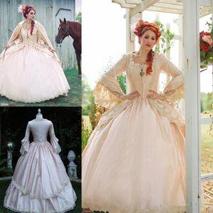 Розовый готический бальное платье Vintage 1920-х годов Стиль Scoop Полная длина с длинным рукавом свадебные платья на заказ сделать Victorian Gothic свадебное платье brodade