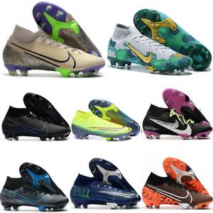 2020 en kaliteli futbol ayakkabıları mens Mercurial Superfly 7 SE Elite NJR CR7 FG Terra Paketi futbol krampon futbol ayakkabıları yüksek ayak bileği scarpe calcio