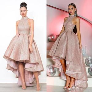 Sexy Dubai Estilo Árabe Brilhantes árabes Prom Vestidos Sequins alta Neck Ruffle Alta Baixa Um Vestido Linha Evening desgaste do partido vestidos ogstuff