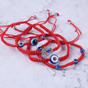 Fátima Friendship Bracelet Handwoven pulseira Sorte Pulseira Kabbalah Red cordas Tópico Hamsa Pulseiras azul Turco Mal Charme Eye Jóias