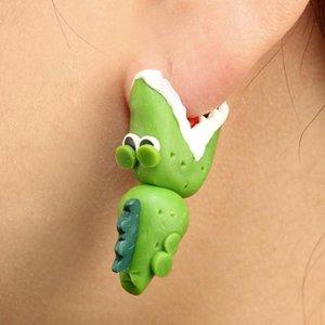 Ladies Girl Cartoon dinosaur Polymer Clay Stud Women cute Animal Crocodile Fashion Earrings Girl green Jewelry