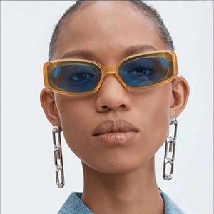 Luxus Italien Designer Lady Quadrat Sonnenbrille Frauen-Weinlese Transparent gelb blau-Sonnenbrillen Weibliche UV400