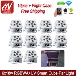 10 unids Mini Led Par Batería 6x18W Led Spotlight Batería Wifi Par Led RGBWA UV 6in1 Wifi Uplighting para bodas