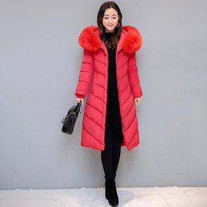 Hot fashion Korean high-quality down and thick warm coat fox fur hooded mid-length jacket ladies knee-length jacket Slim long trench coat ja