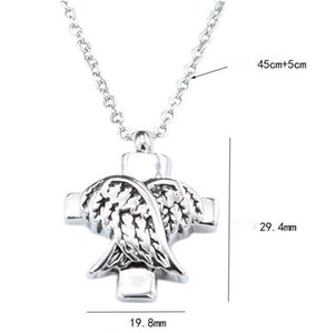 DHL Angle Wings Cross Cremation Jewelry Silver Cremation Urn Necklace Pendant Memorial Keepsake Necklace