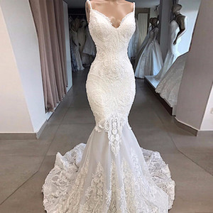Vestidos De Novia Weiß Mermaid Brautkleid-Backless reizvolle Schatz-Spitze Brautkleider handgemachte Appliques Brautkleid