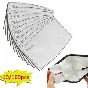 Anti-poussière Masque Filtre Gouttelettes Replaceable Insert Mask papier Haze PM2,5 bouche Filtres ménagers de protection Produits 100pcs