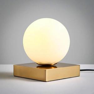 현대 테이블 램프 US / EU 플러그 5W LED Bedlamp 베드룸 거실 데스크 램프 침대 옆 램프 유리 그늘 밤 독서 홈 Lamparas