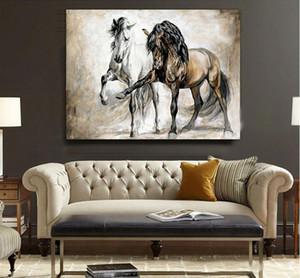 Retro-Nostalgie braunes Pferd Pferd Tanz Hauptdekor handgemaltes HD-Druck Tier Ölgemälde auf Leinwand Wohnzimmer Bilder 200517