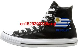 Canvas Shoes Uruguay Football Soccer Flag Classics High-Top Lace Ups Sport Sneakers For Unisex