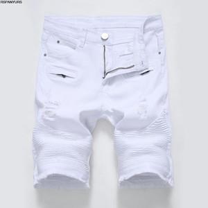 Новые мужские повседневные джинсы Zipper Stretch Тонкий Белый Черный Мужские Hole Брюки Шорты играть в футбол