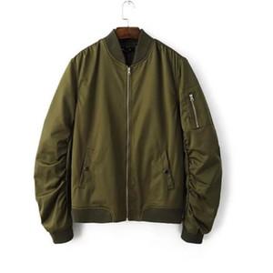 Весна Осень Mens Solid Flight Army Green Bomber Jacket Mens Rib Sleeve Zipper Short Baseball Пальто Одежда