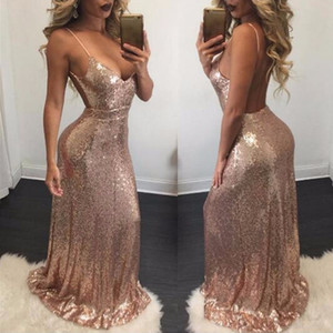 Sexy Prom Dresses Long 2018 Cheap Deep V-neck Sleeveless Spaghetti Strap Sequined Sparkle Mermaid Prom Dresses Vestido De Festa