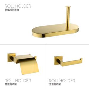 Badezimmer Gold Zubehör Set 304 Edelstahl Toilettenpapierhalter WC-Bürstenhalter der Wand befestigte Brushed Badezimmerzubehör