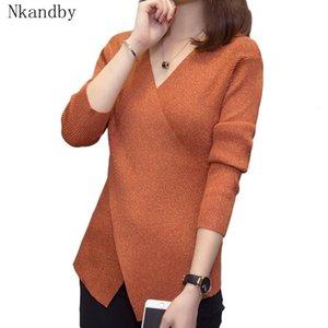 Nkandby del tamaño extra grande Jerseys y suéteres de las mujeres Criss Cross V cuello elegante de punto Tops Otoño Invierno Pista de Corea Puentes géneros de punto