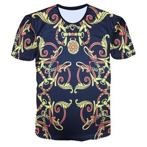 mens designer t shirts t shirt clothes of white clothing white tshirts creative printing 3D gold pattern short-sleeved T-shirt