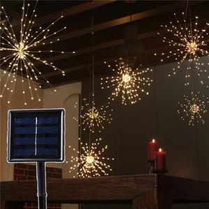 DIY الألعاب النارية الشمسية سلسلة الأنوار 8 أوضاع 120/160/200 أدى مصباح الشمسي للحديقة الديكور باقة عيد الميلاد هدية أضواء