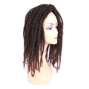 "Kinky Twist Synthetic Hair Extensions 110G PC For Black Women 20""Afro Kinky Bulk Black Brown Crochet Braiding Twist Hair Bundles"