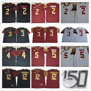 NCAA FSU Florida State Seminoles 2 Deion Sanders 3 Derwin James 4 Dalvin Cuire 5 Jameis Winston 12 Akers Hornibrook 150e Maillots de football