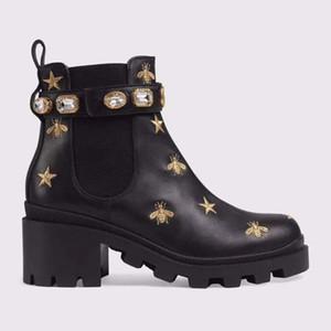 الأحذية الجلدية المرأة الرباط حتى الشريط مشبك معدني لحزام الأحذية في الكاحل المصنع مباشرة الإناث الخام كعب جولة رئيس الخريف فصل الشتاء الأحذية مارتن SIZE35-4