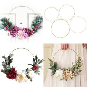 10-35cm Gold Iron Metal Ring Wreath Garland Baby Shower Floral Wreath Wedding Decoration Bride Flowers Hoop Decor