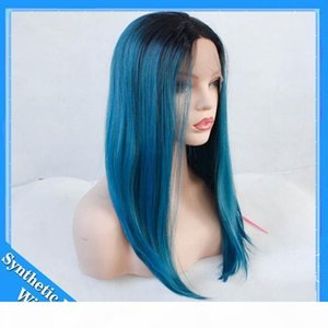 L Short Bob Dark Root Blue Wig Women &#039 ;S Fashion Top Quality Front Lace Heat Resistant Synthetic Ombre Black To Blue Hair Wigs For