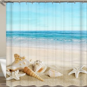 장식 비치 불가사리 장식 3D 커튼 또는 매트 커튼 거북이 목욕 샤워 커튼 후크 욕실 해양 샤워 커튼