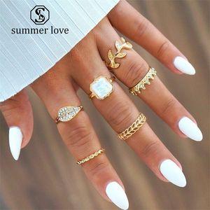 6 pc / Moda Boemia corona anello di cristallo per le donne Leaf Set Midi Anello Ornament Ragazze anello dell'articolazione 2019 Nuovi monili regalo
