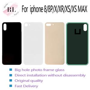 Pour iPhone 8 8 plus X XS MAX batterie verre boîtier arrière de couverture de remplacement de verre appareil photo grand trou Pas de démontage avec des autocollants