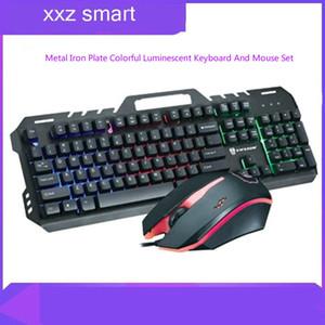 Wireless Mouse Gaming Metal Mechanics Keyboard Feel Rainbow Luminescence Keyboard Game Computer Keyboard Mouse Suit
