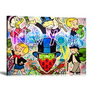 """Alec Monopoly Graffiti Handcraft Oil Painting on Canvas, """"New York"""" decorazioni per la casa pittura murale, 24 * 30 pollici senza allungamento"""