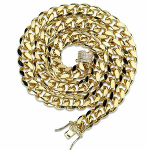 Mens Miami Cuban link Chain Necklace 24'14K Gold Plated Durable