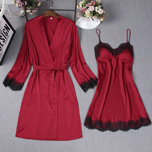 Dark Red Sexy Sleep Robe Kimono Sleepwear Sets Womens 2pcs Strap Top Suit Casual Spring Home Wear Pajamas Nightwear Bath Gown
