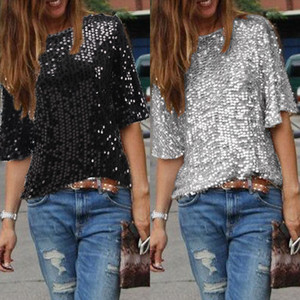 숙녀 경 사진 어깨 반짝임 스팽글 슬림 셔츠 탑스 블라우스 여성 T- 셔츠