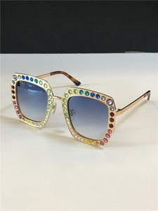 marco cuadrado nuevas mujeres del diseño de la moda gafas de sol de la lente de cristal del mosaico colorido brillante diamante de calidad superior 0115 UV400 de metal con la caja original