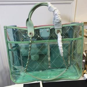 Qualitäts-Frauen-Beutel PVC-freie Taschen Große Totes Taschen Transparent Mode Diamant-Gitter-Fadenkette Crossbody Beutel-freies Verschiffen