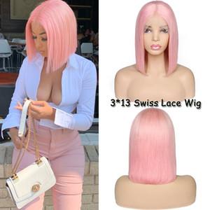 Peruca rosa Popular 13 * 3 rendas frente perucas sintéticas do cabelo com novo estilo resistente ao calor de fibra Glueless curto Bob peruca para mulheres Africano-americanos