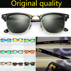 Designer Sonnenbrille Top Qualität Club Echte Glaslinsen Acetatrahmen UV400 Sonnenglaslinsen Sonnenbrille Oculos de Sol Ledertasche, Box