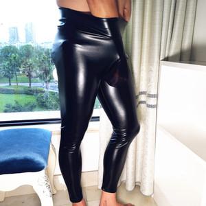 Мужские брюки мужские FAD панк-эластичные узкие брюки PU искусственной кожи, глянцевый стадии карандаш сексуальный клубная одежда Gay Club танцевальная одежда бархат
