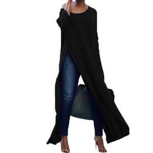 Sonbahar Kadın Seksi Bluzlar Uzun Kollu, Off The Omuz Pamuk Katı Bölünmüş Bluz kadın blusas Casual uzun Shirt