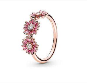 FAHMI 100% 925 plata esterlina 188792C01 Anillo flor del trío de la margarita rosa rosa románticas de la joyería de las mujeres originales simple